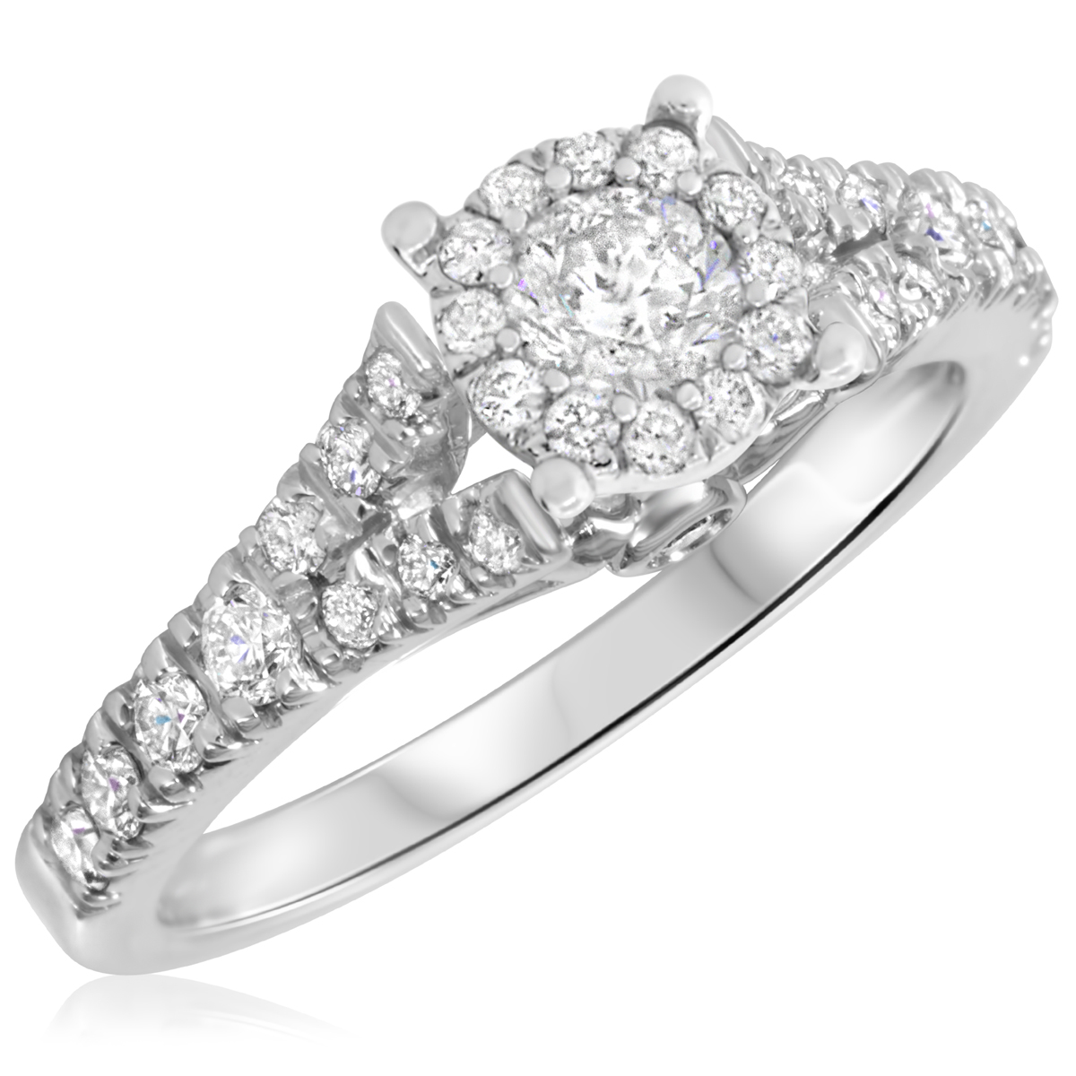 7/8 CT. T.W. Diamond Ladies Engagement Ring 14K White Gold