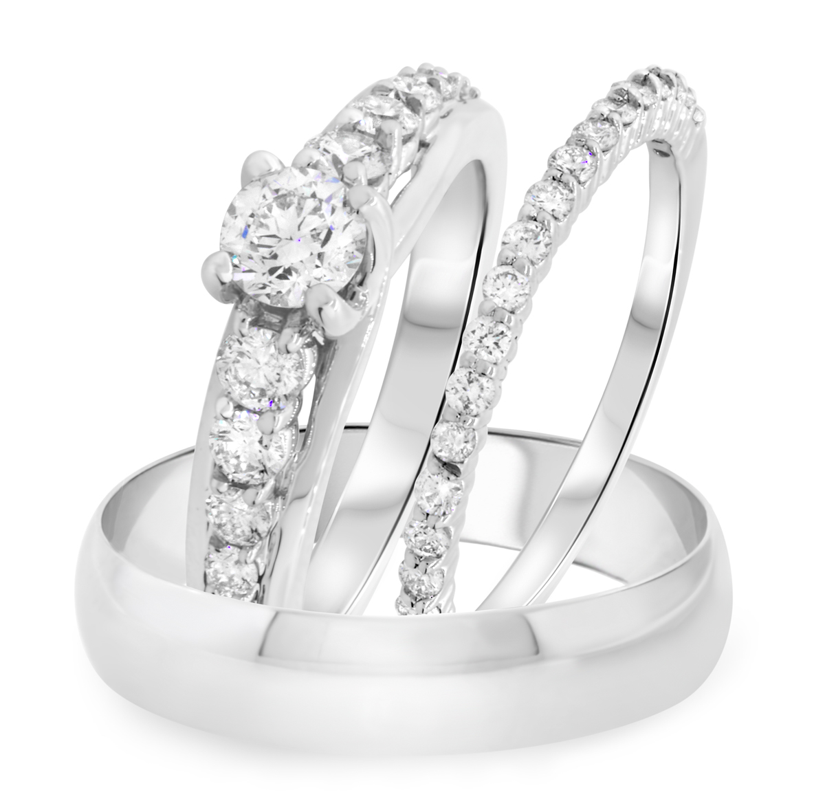 1 1/3 Carat T.W. Round Cut Diamond Trio Wedding Set 14K White Gold