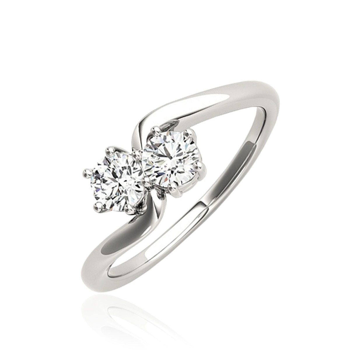 1/4 Carat T.W. Round Cut Diamond Two Stone Ring 14K White Gold