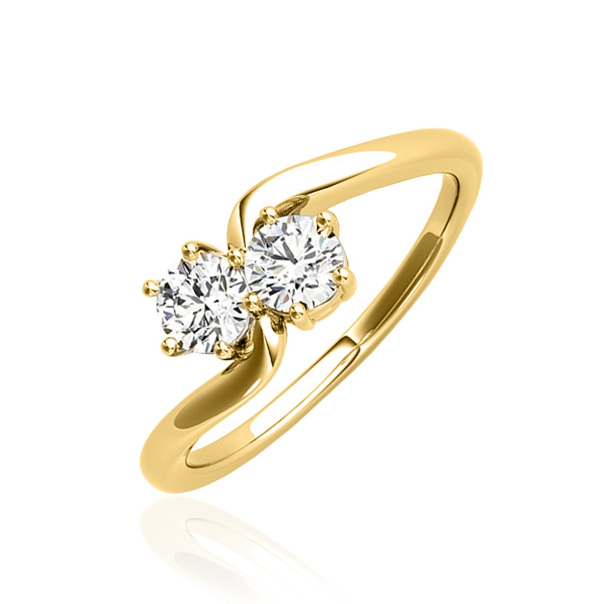 1/4 Carat T.W. Round Cut Diamond Two Stone Ring 14K Yellow Gold