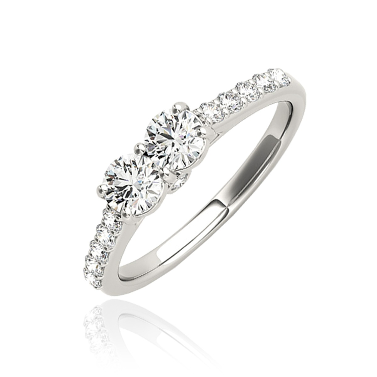 1/2 Carat T.W. Round Cut Diamond Two Stone Ring 10K White Gold