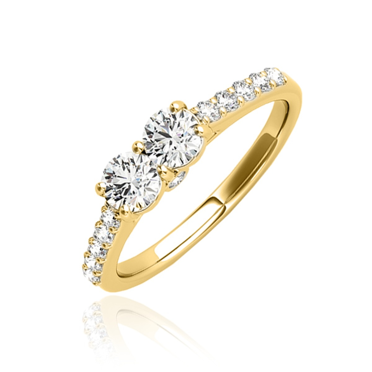 1/2 Carat T.W. Round Cut Diamond Two Stone Ring 10K Yellow Gold