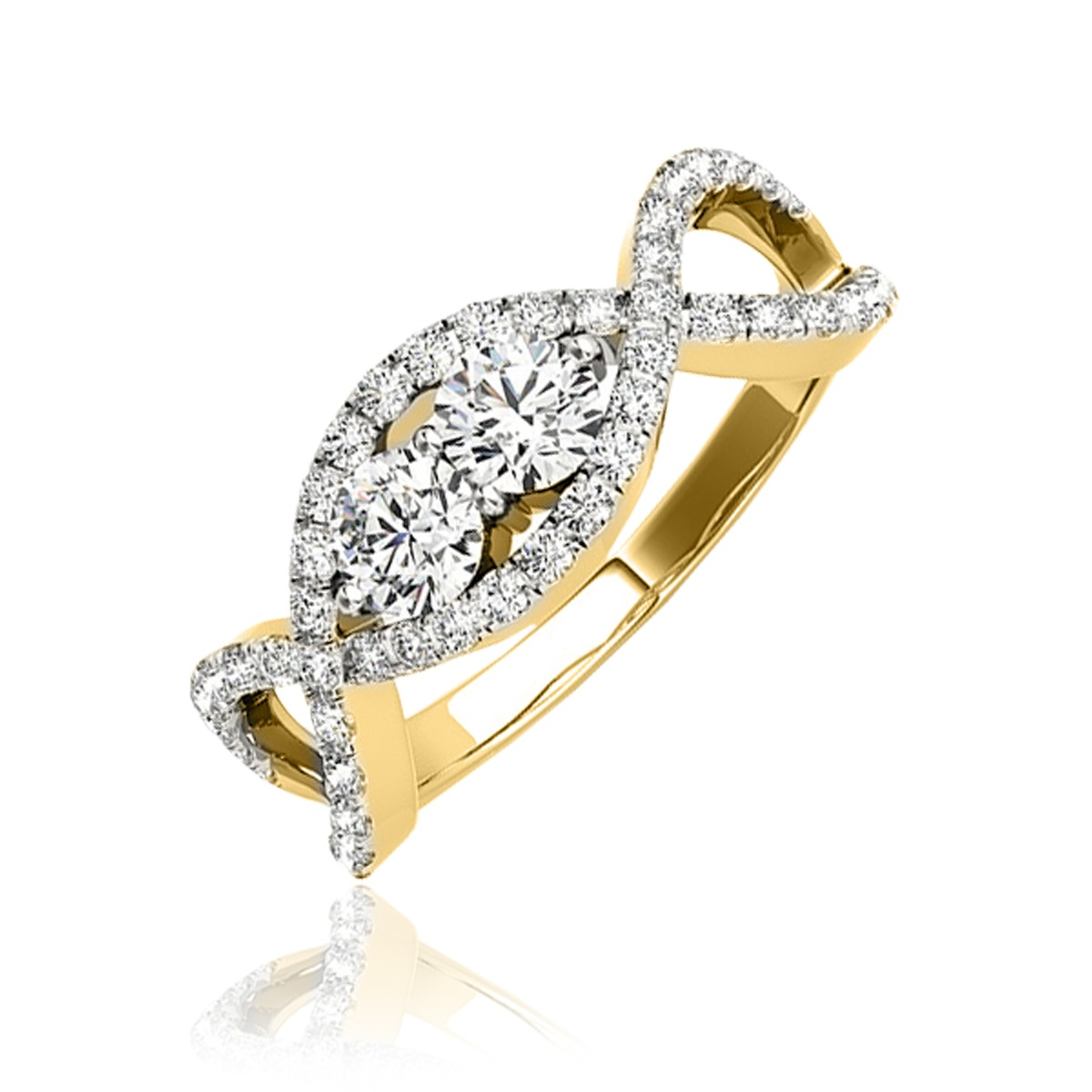 1 1/3 Carat T.W. Round Cut Diamond Two Stone Ring 14K Yellow Gold