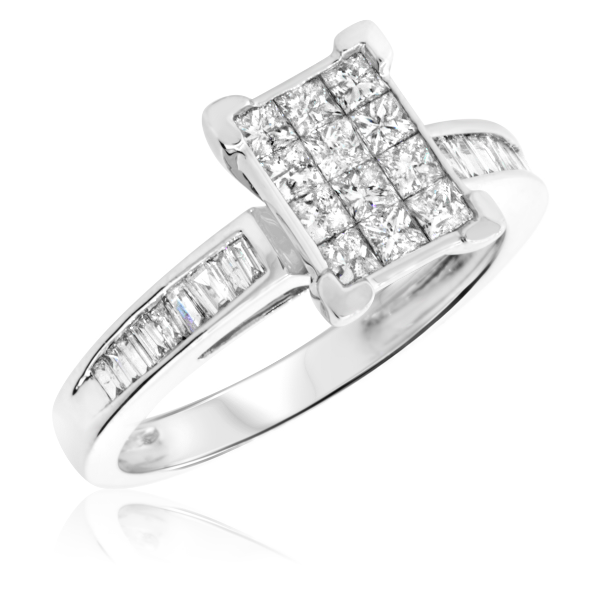 7/8 Carat T.W. Princess, Baguette Cut Diamond Ladies Engagement Ring 14K White Gold