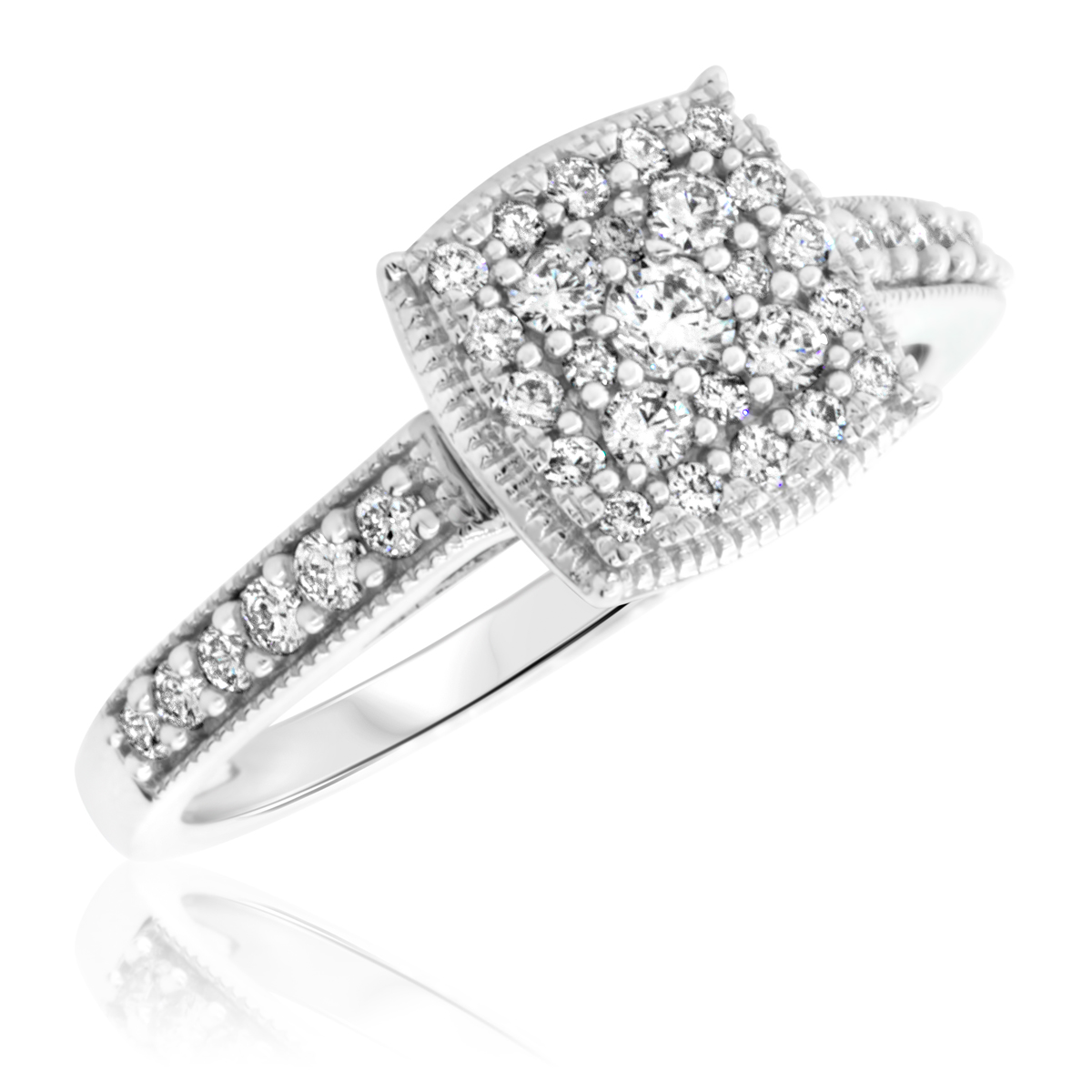 1/2 Carat T.W. Round Cut Diamond Ladies Engagement Ring 14K White Gold