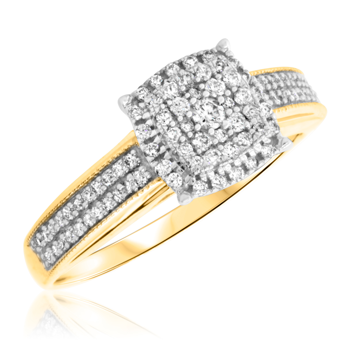 3/8 Carat T.W. Round Cut Diamond Ladies Engagement Ring 14K Yellow Gold
