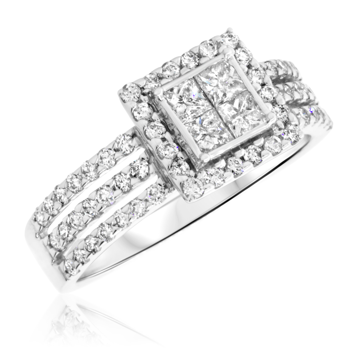 1 Carat T.W. Princess, Round Cut Diamond Ladies Engagement Ring 14K White Gold