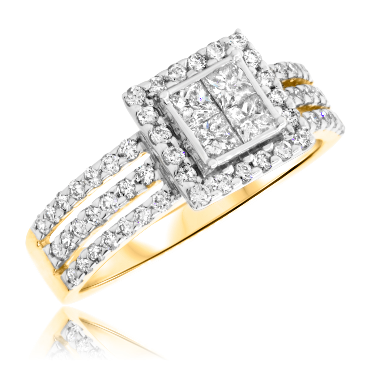 1 Carat T.W. Princess, Round Cut Diamond Ladies Engagement Ring 14K Yellow Gold