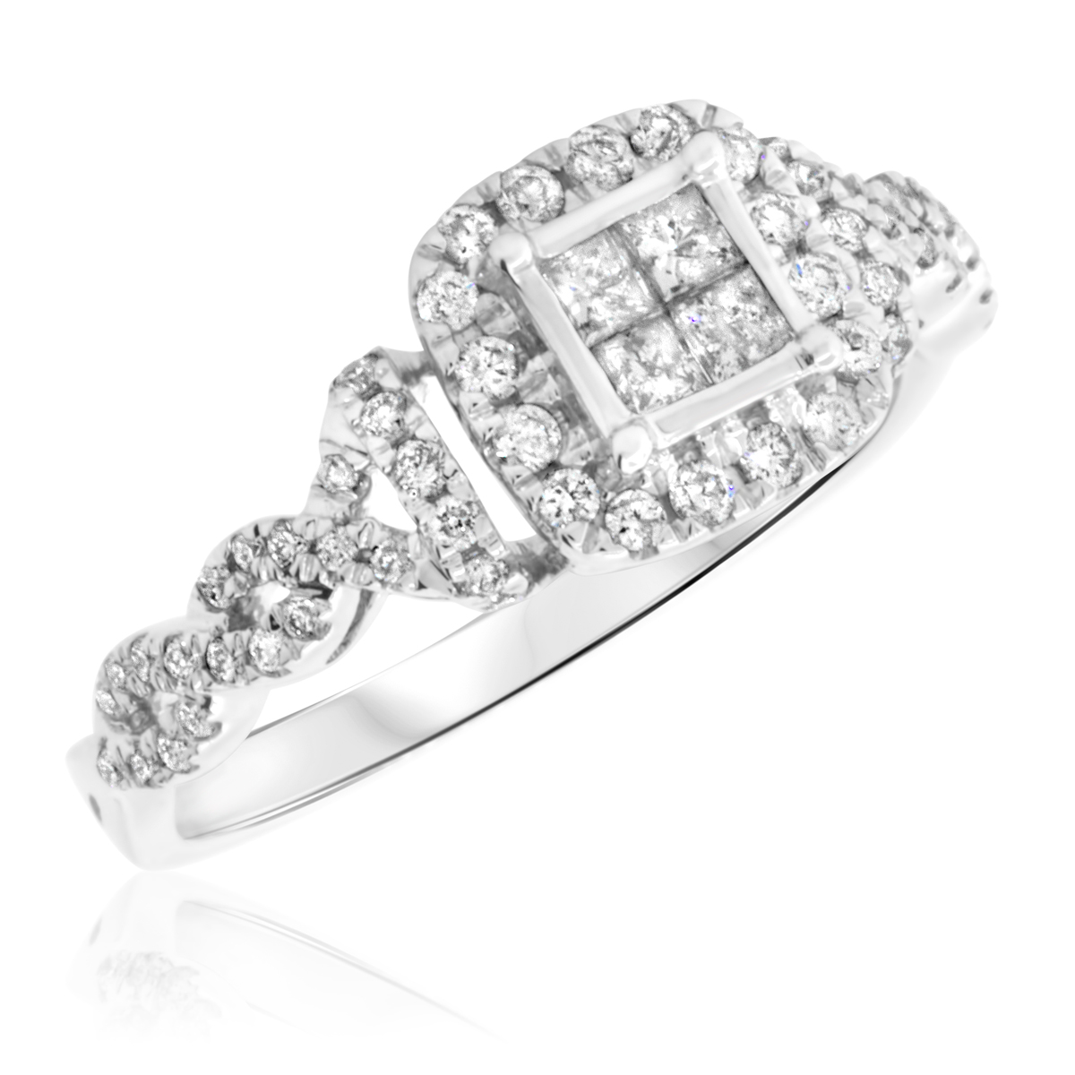 1/2 Carat T.W. Princess, Round Cut Diamond Ladies Engagement Ring 14K White Gold