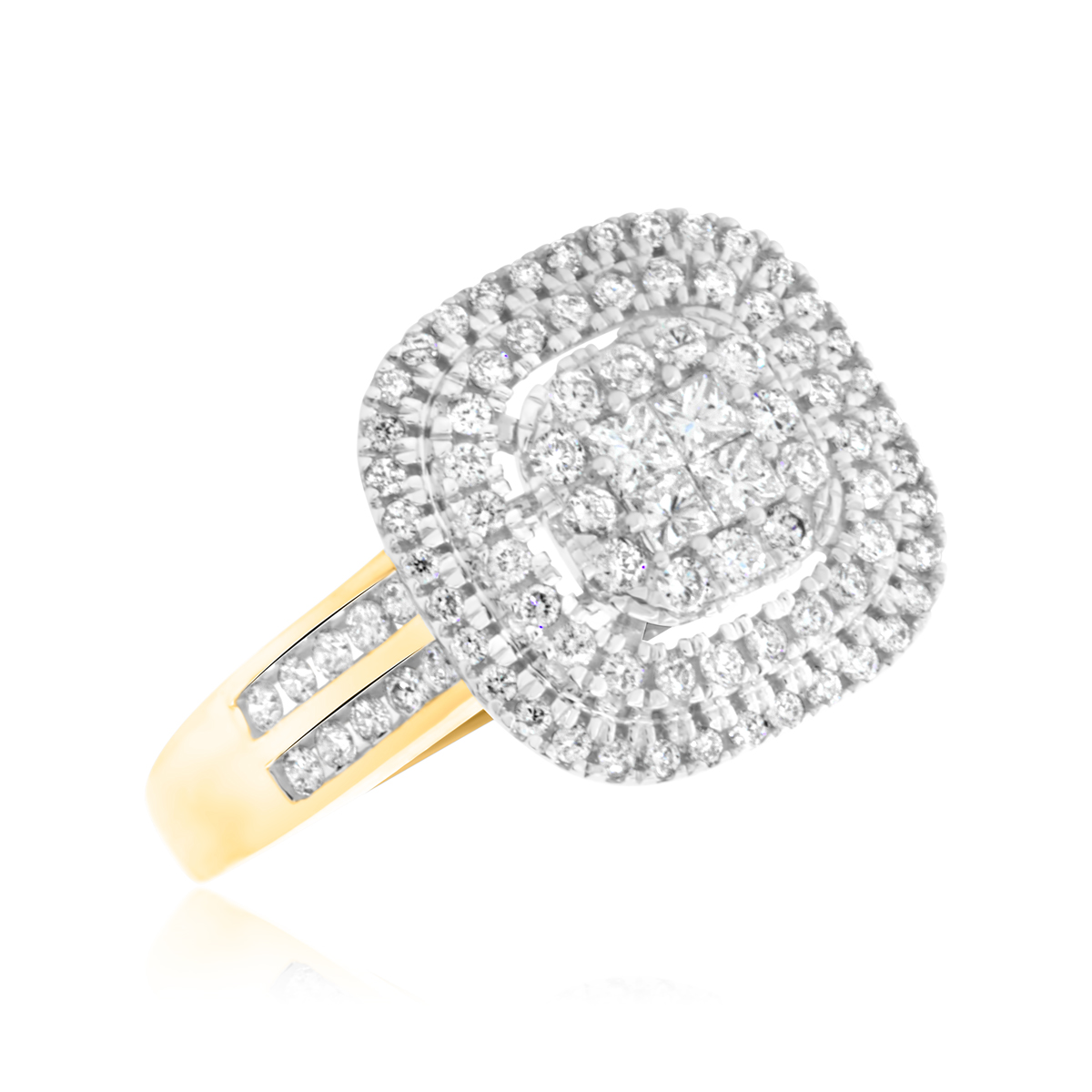 7/8 Carat T.W. Princess, Round Cut Diamond Ladies Engagement Ring 14K Yellow Gold
