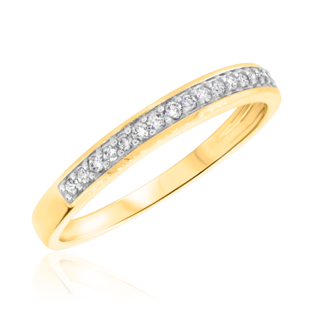 1/7 Carat T.W. Round Cut Diamond Ladies Wedding Band 14K Yellow Gold