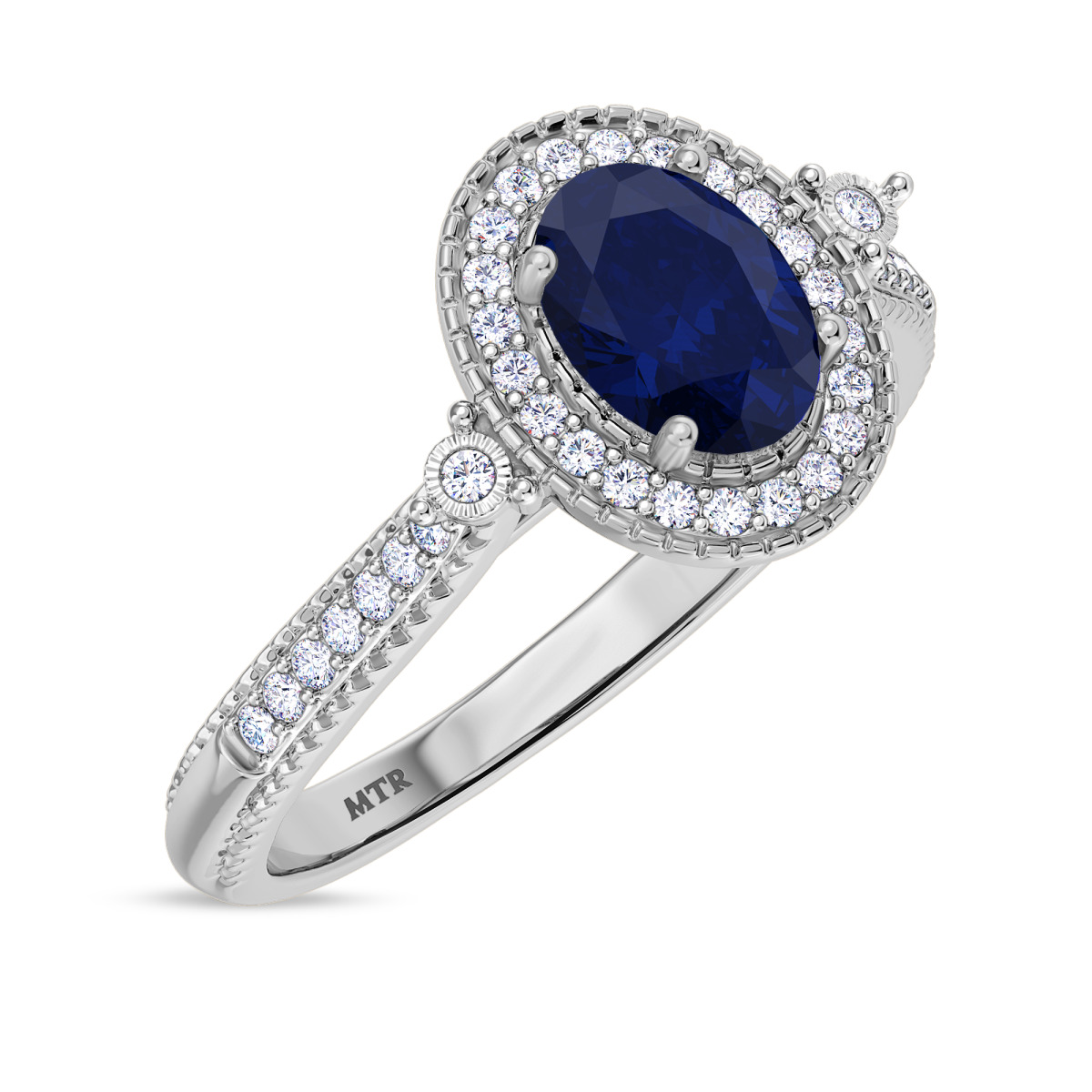 1 1/6 CT. T.W. Sapphire Engagement Ring 10K White Gold