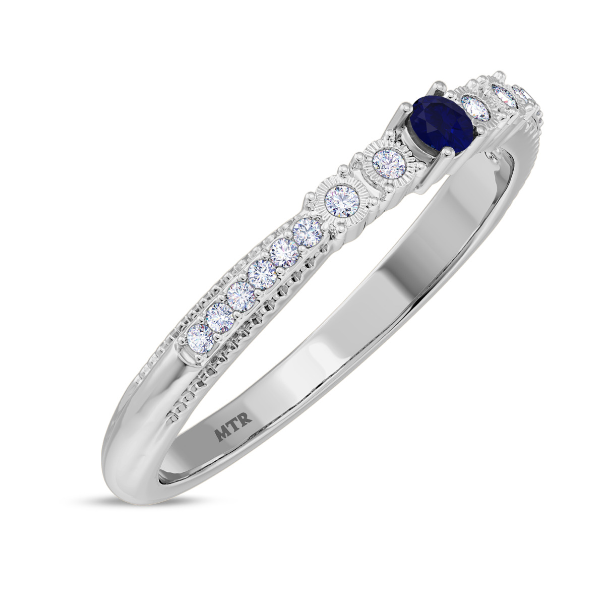 1/6 CT. T.W. Sapphire Ladies Wedding Band  14K White Gold