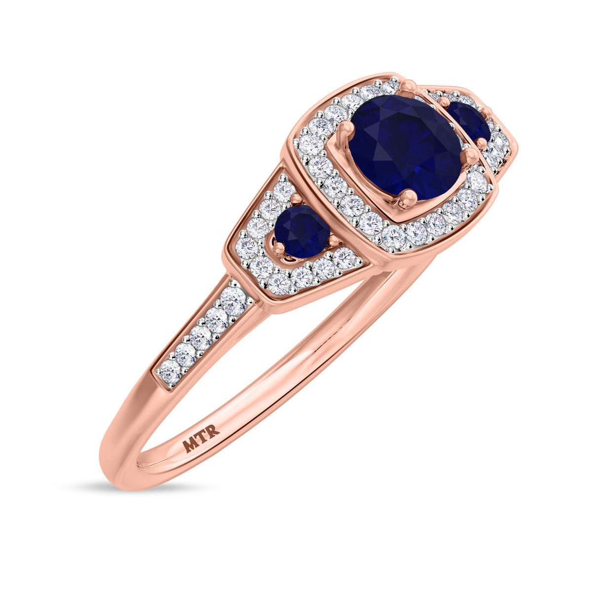 7/8 CT. T.W. Sapphire Engagement Ring 14K Rose Gold