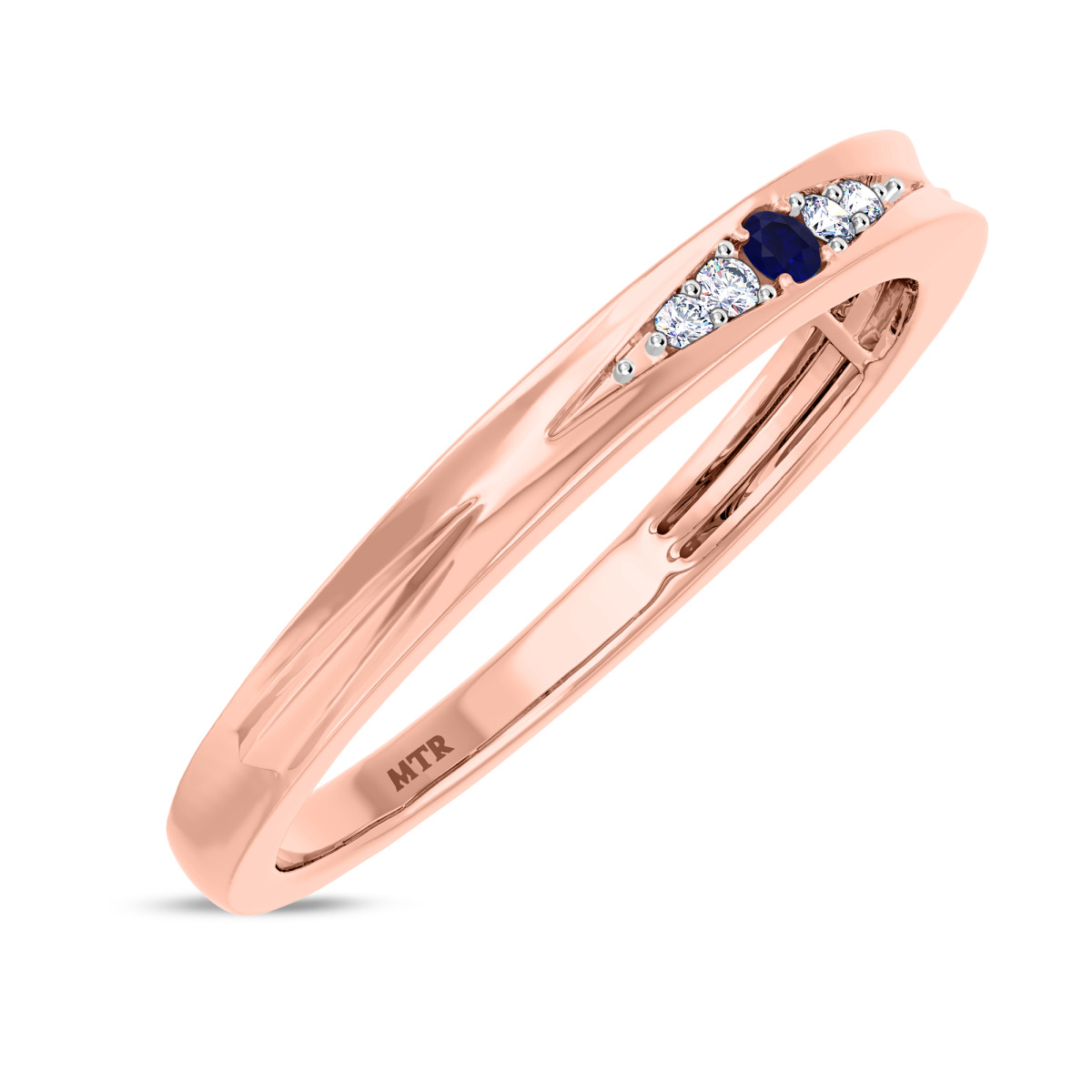 1/20 CT. T.W. Sapphire Ladies Wedding Band  14K Rose Gold