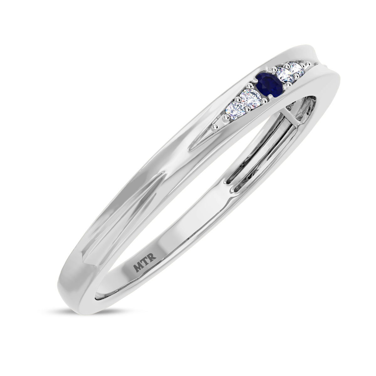 1/20 CT. T.W. Sapphire Ladies Wedding Band  14K White Gold