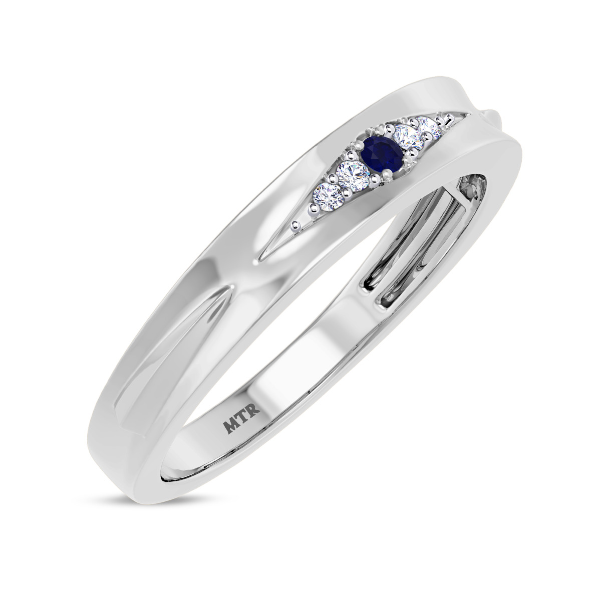 1/10 Carat T.W. Sapphire Mens Wedding Band 14K White Gold
