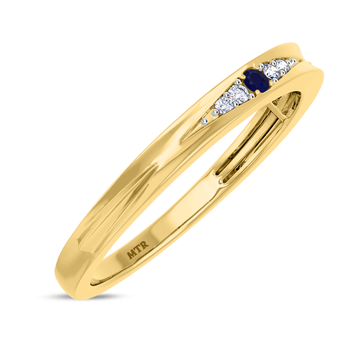 1/20 CT. T.W. Sapphire Ladies Wedding Band  10K Yellow Gold