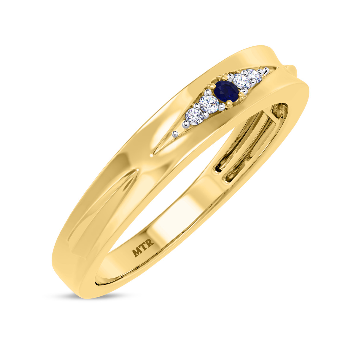 1/10 CT. T.W. Sapphire Mens Wedding Band 10K Yellow Gold