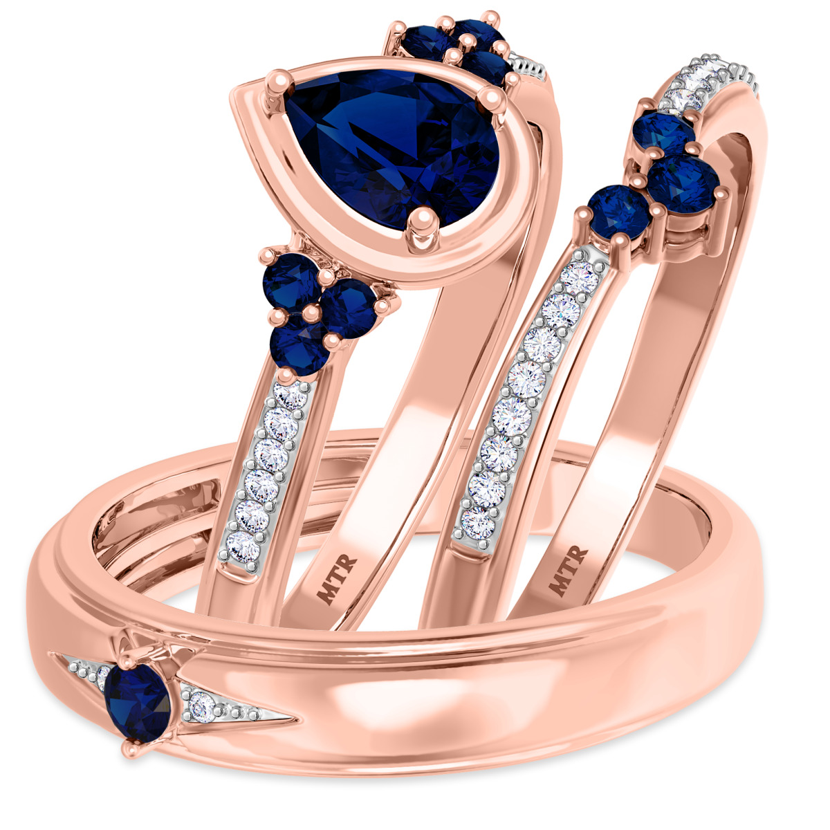 1 Carat T.W. Sapphire Trio Matching Wedding Ring Set 10K Rose Gold
