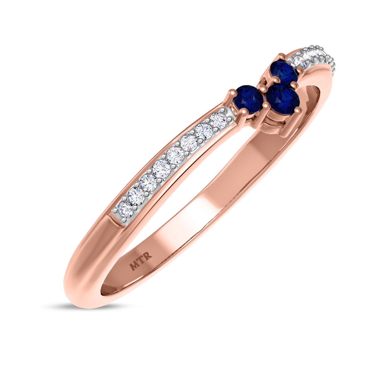 1/6 CT. T.W. Sapphire Ladies Wedding Band  14K Rose Gold
