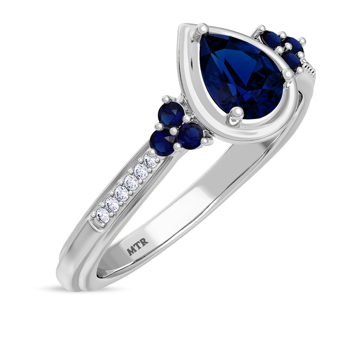 3/4 Carat T.W. Sapphire Engagement Ring 10K White Gold