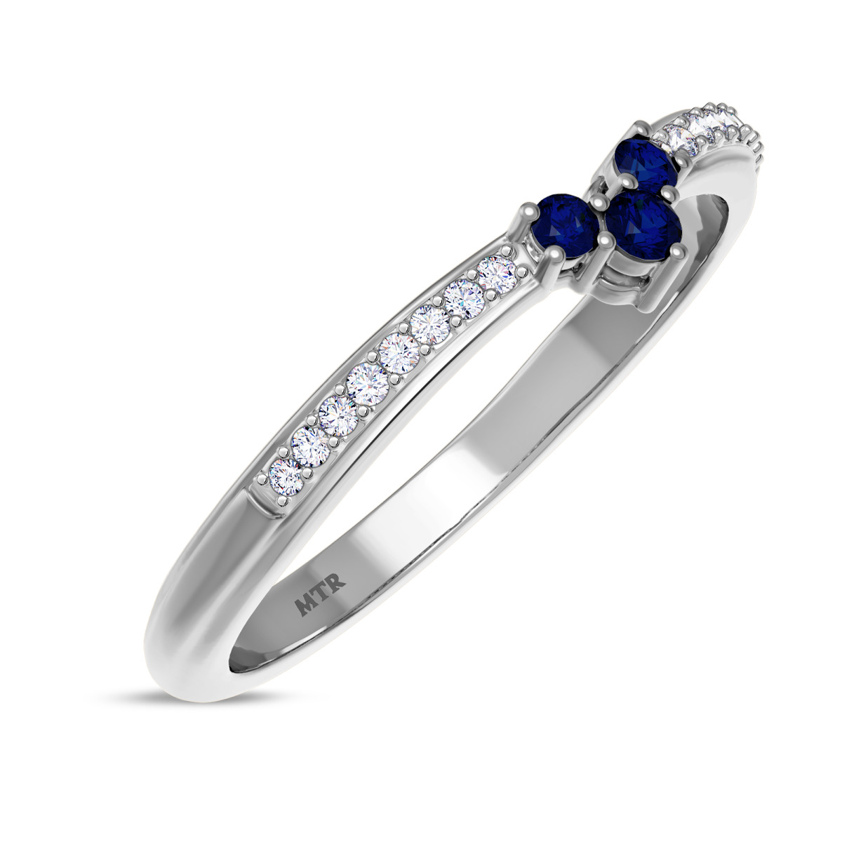 1/6 Carat T.W. Sapphire Ladies Wedding Band  10K White Gold