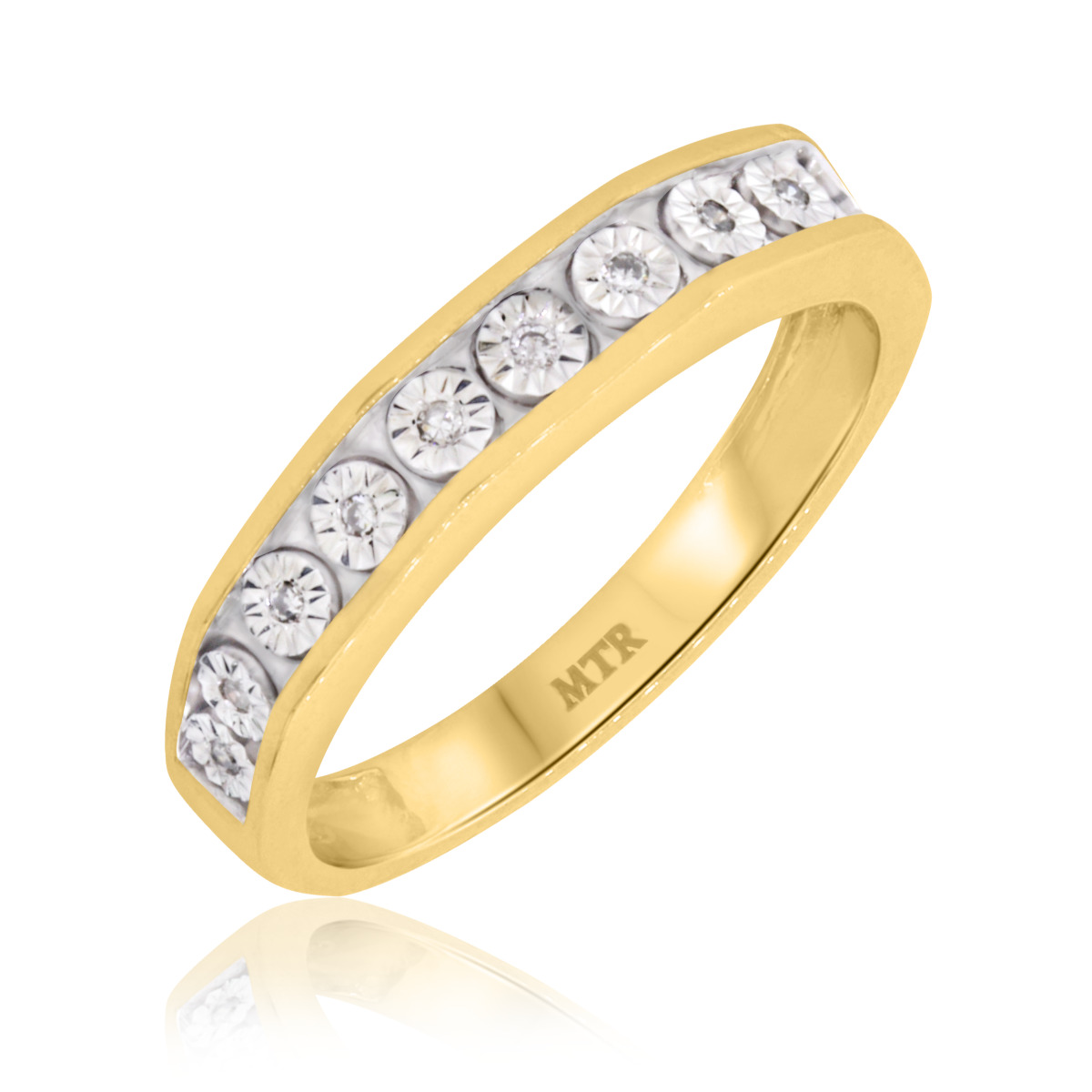 1/10 Carat T.W. Diamond Ladies Wedding Band  14K Yellow Gold