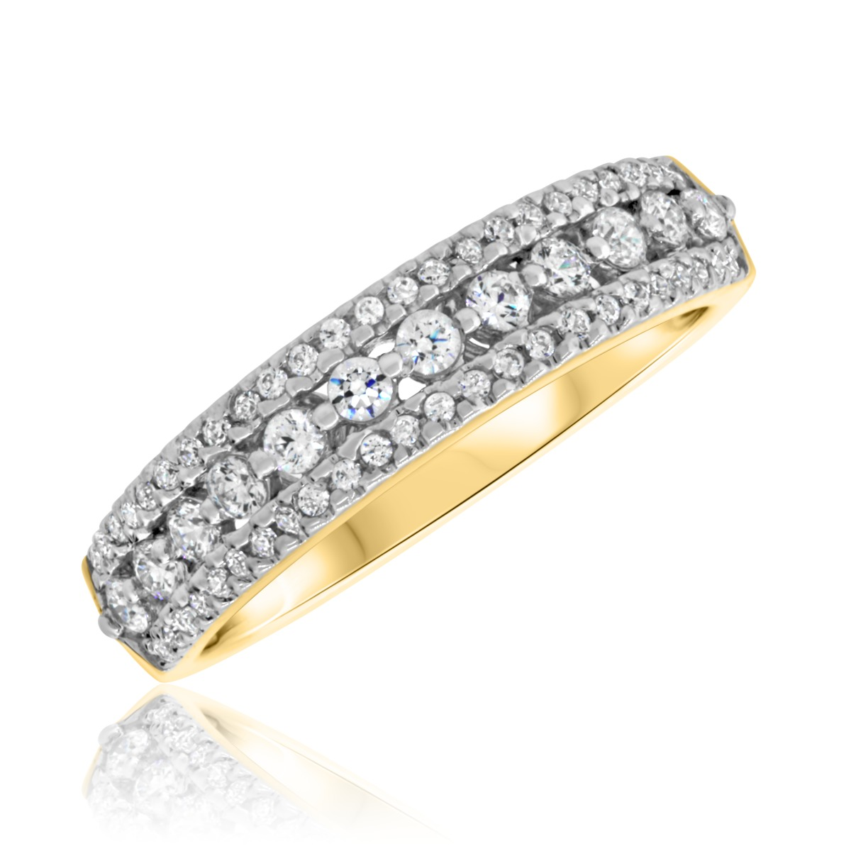 1/2 CT. T.W. Diamond Ladies Wedding Band  14K Yellow Gold