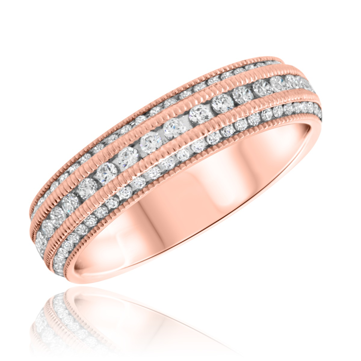 1/2 CT. T.W. Diamond Ladies Wedding Band  14K Rose Gold