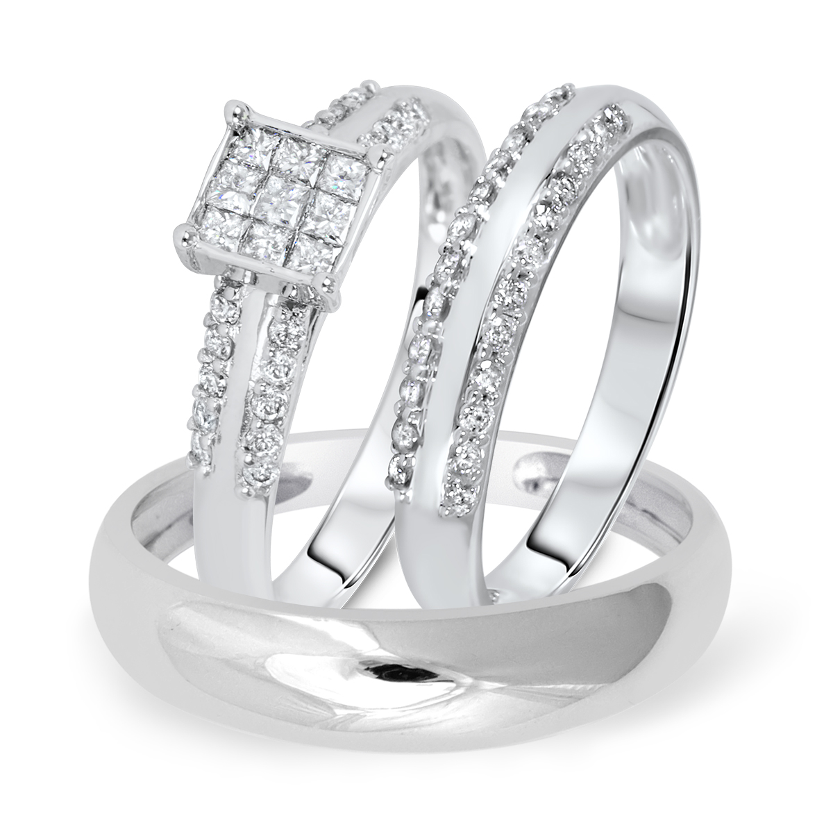 3/4 CTTW Matching Wedding Trio Ring Set in 14K White Gold