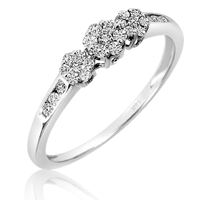 1/3 CT. T.W. Diamond Ladies Promise Ring 14K White Gold