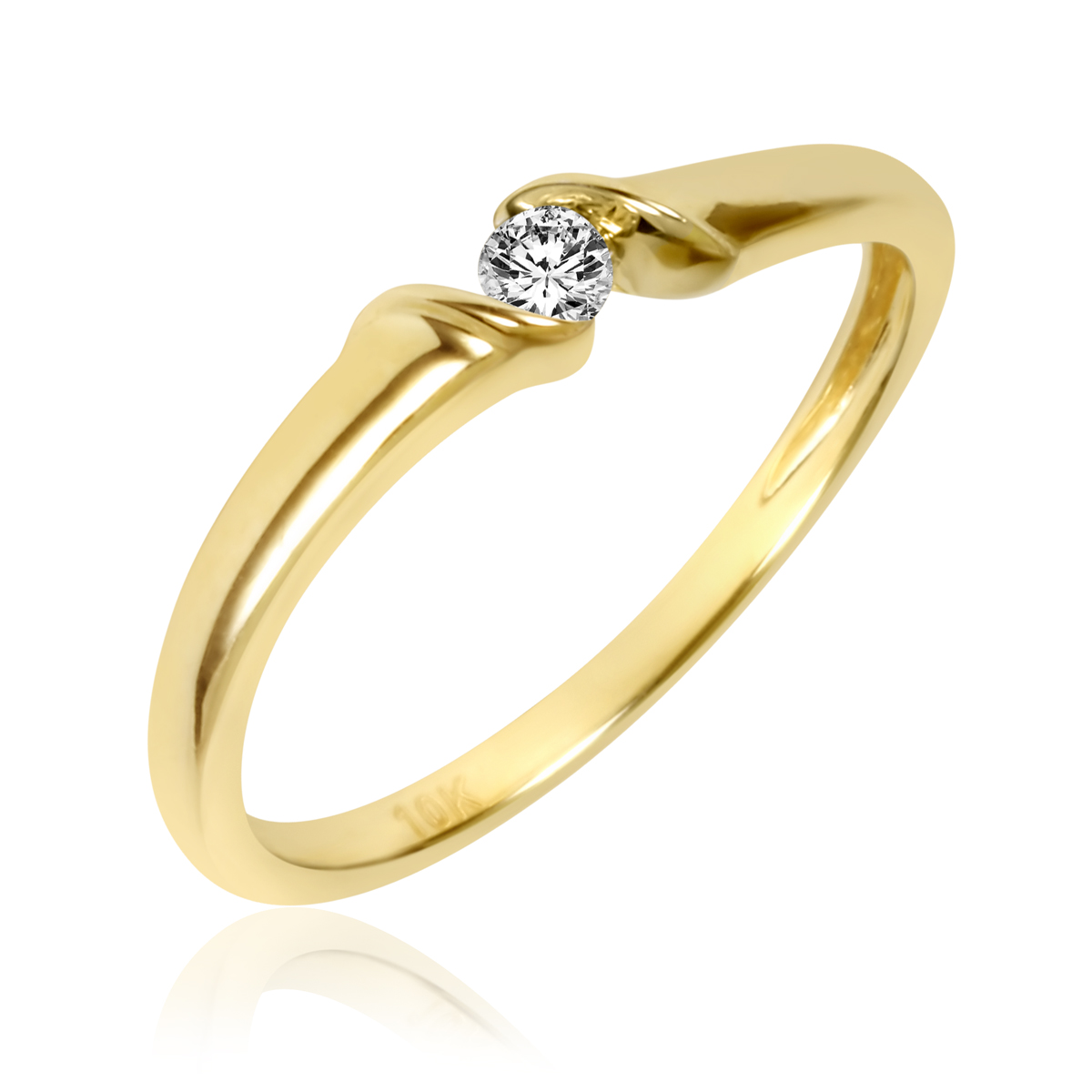 1/10 Carat T.W. Diamond Ladies Promise Ring 10K Yellow Gold