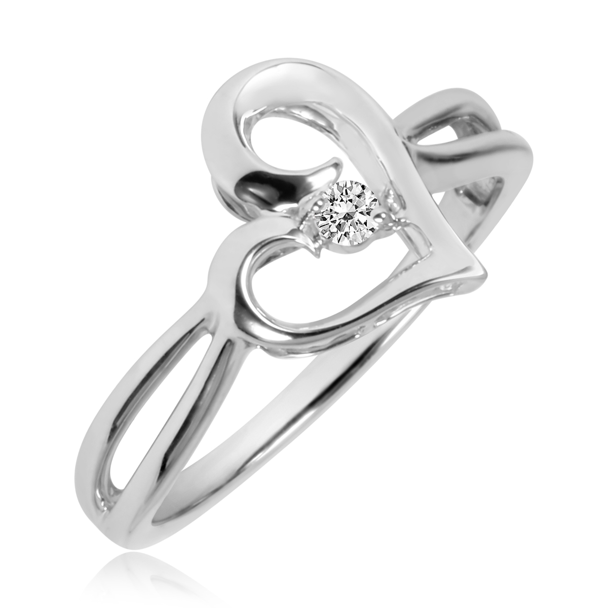 1/20 CT. T.W. Diamond Ladies Promise Ring 10K White Gold