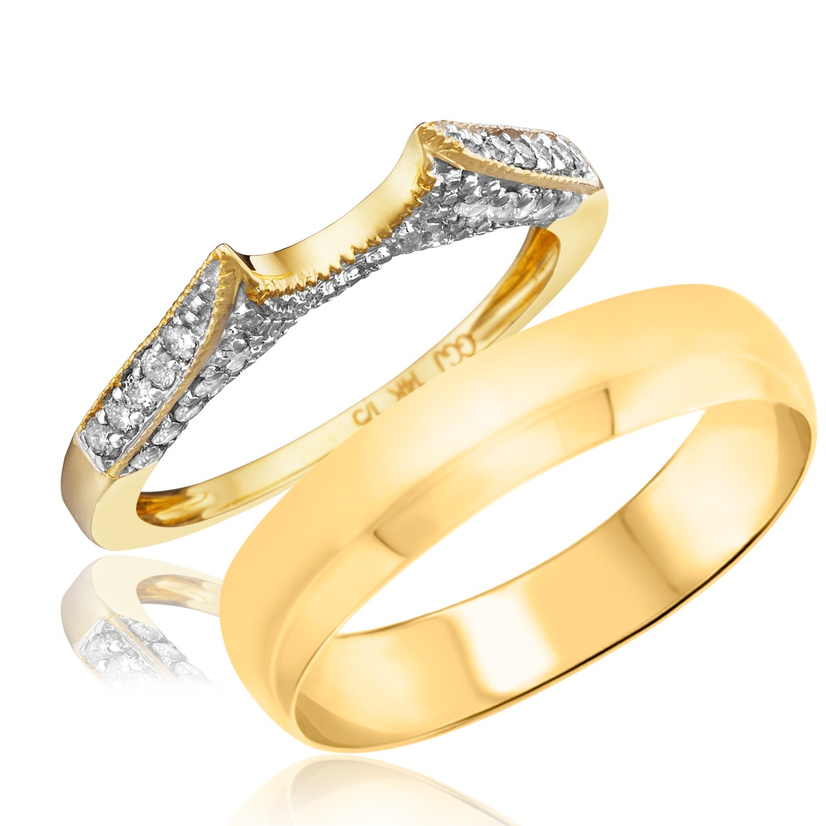 1/4 Carat T.W. Round Cut Diamond His and Hers Wedding Band Set 14K Yellow Gold