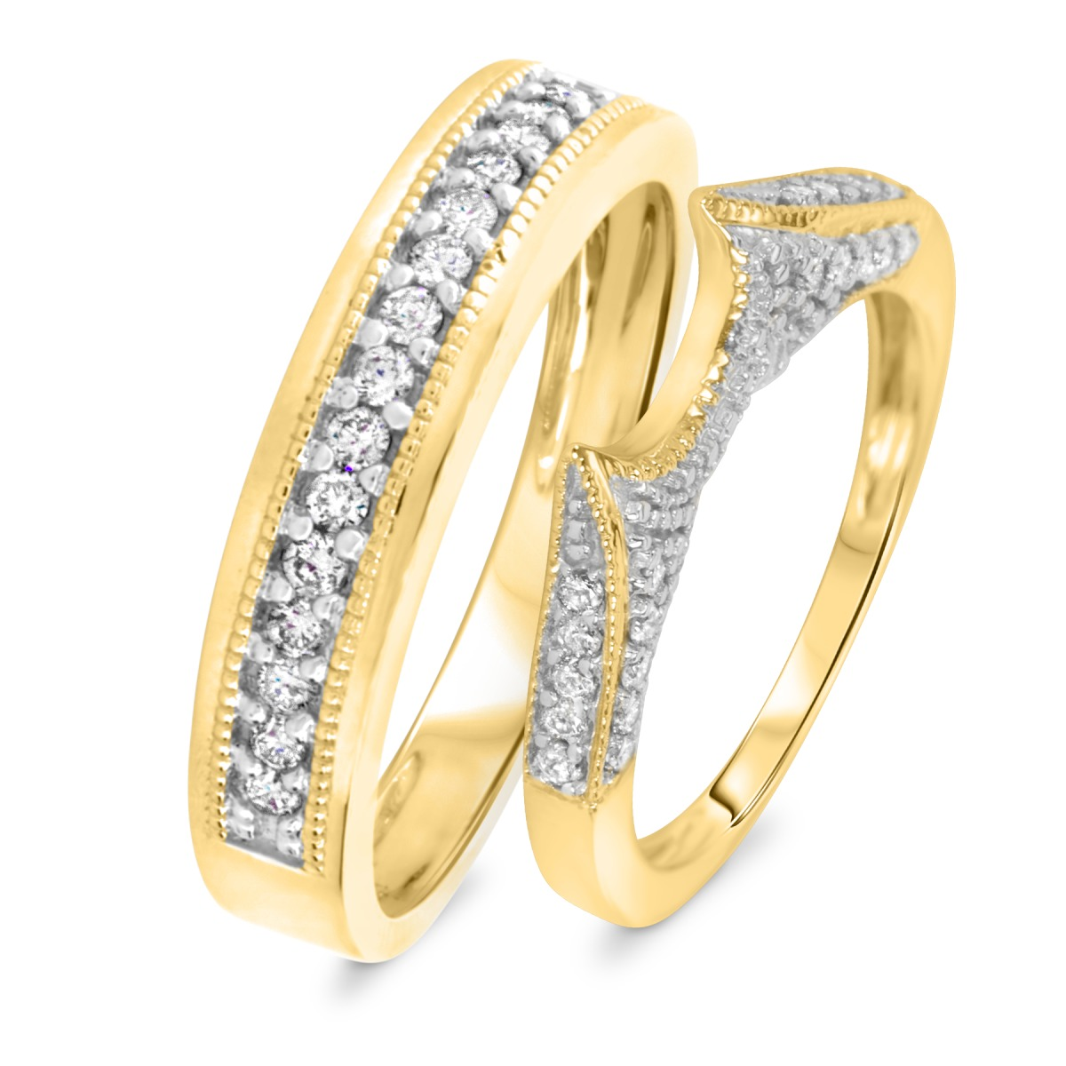 1/2 CT. T.W. Diamond His And Hers Wedding Rings 10K Yellow Gold