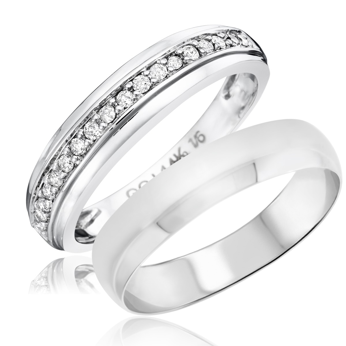 1/7 Carat T.W. Round Cut Diamond His and Hers Wedding Band Set 14K White Gold