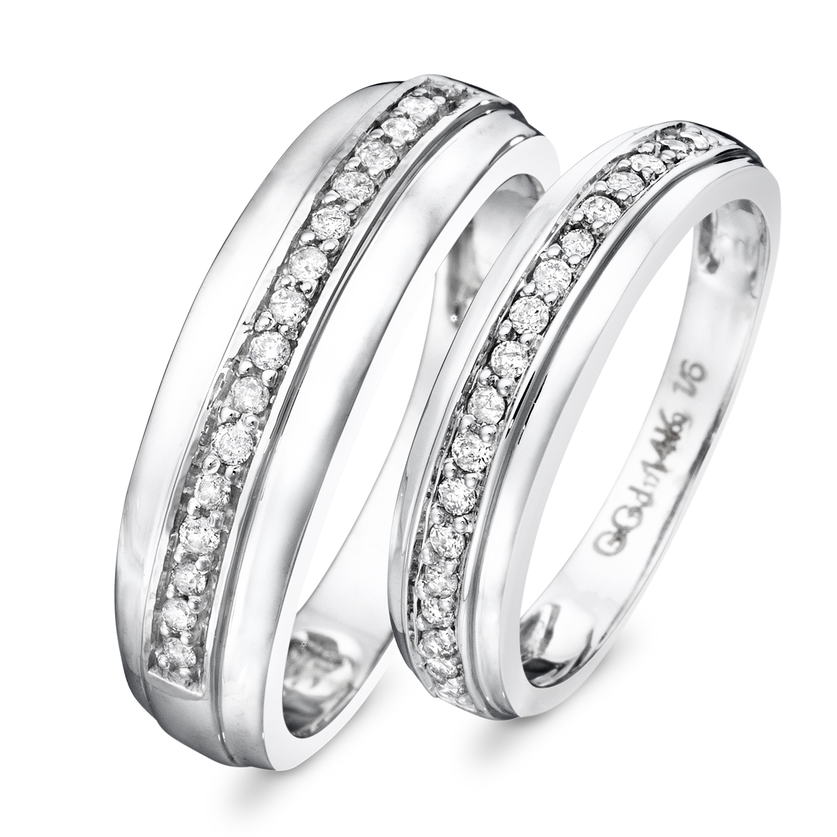 1/3 CT. T.W. Diamond His And Hers Wedding Rings 10K White Gold