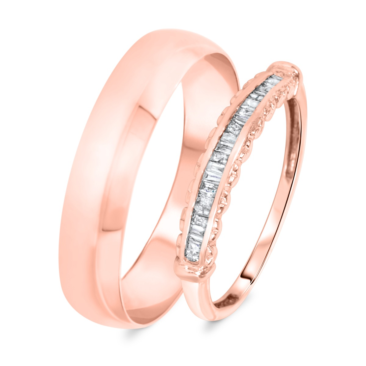 1/4 Carat T.W. Baguette Cut Diamond His and Hers Wedding Band Set 14K Rose Gold