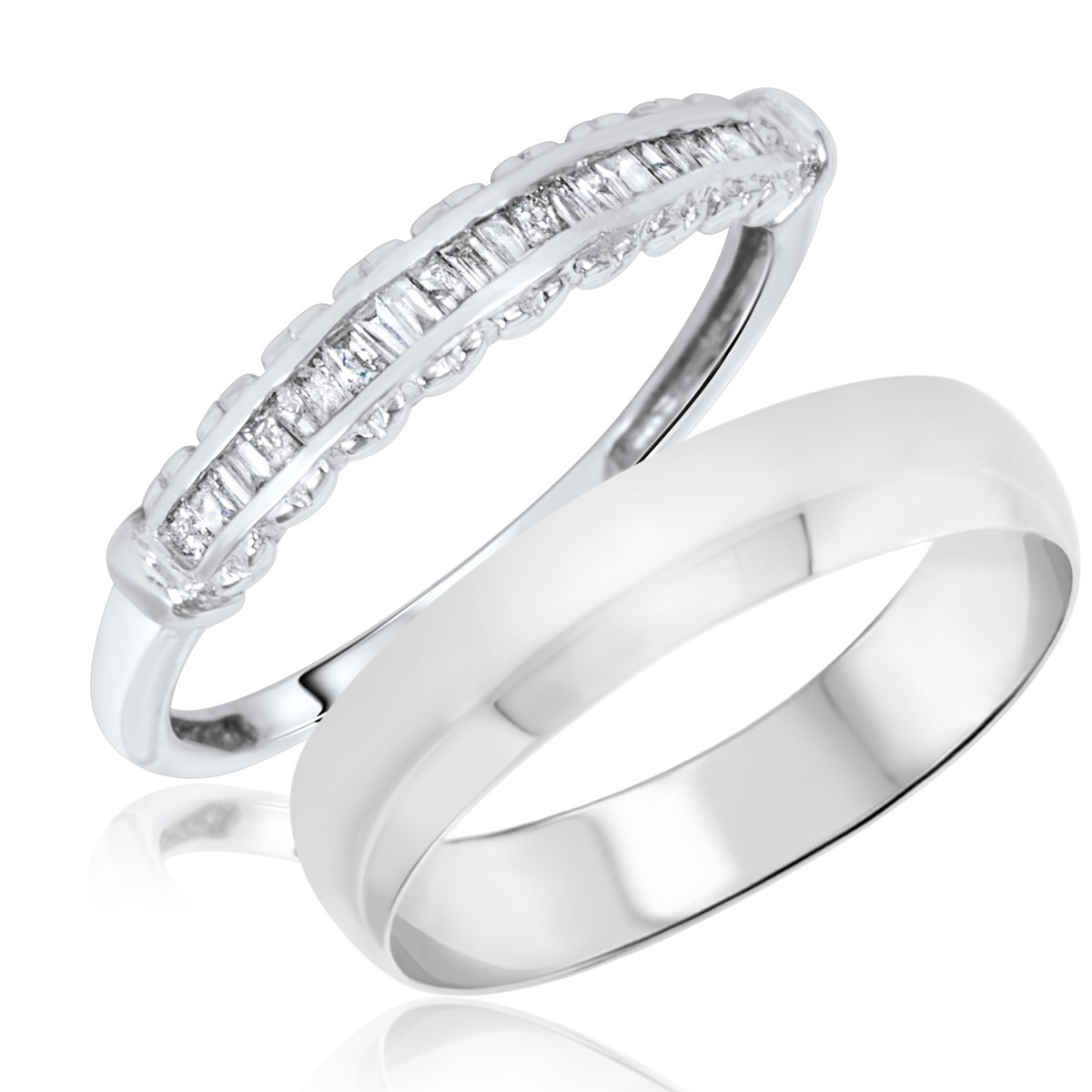 1/4 Carat T.W. Baguette Cut Diamond His and Hers Wedding Band Set 14K White Gold