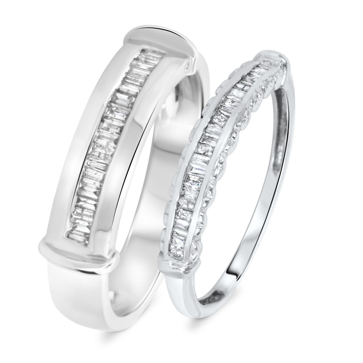 1/2 Carat T.W. Diamond Matching Wedding Rings Set 10K White Gold