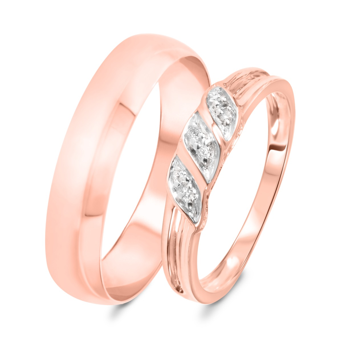 1/15 Carat T.W. Round Cut Diamond His and Hers Wedding Band Set 10K Rose Gold