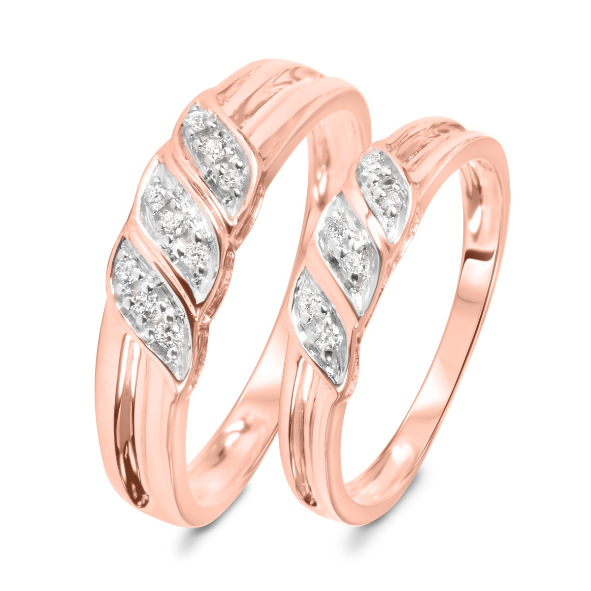 1/7 Carat T.W. Diamond Ladies' and Men's Wedding Rings 10K Rose Gold