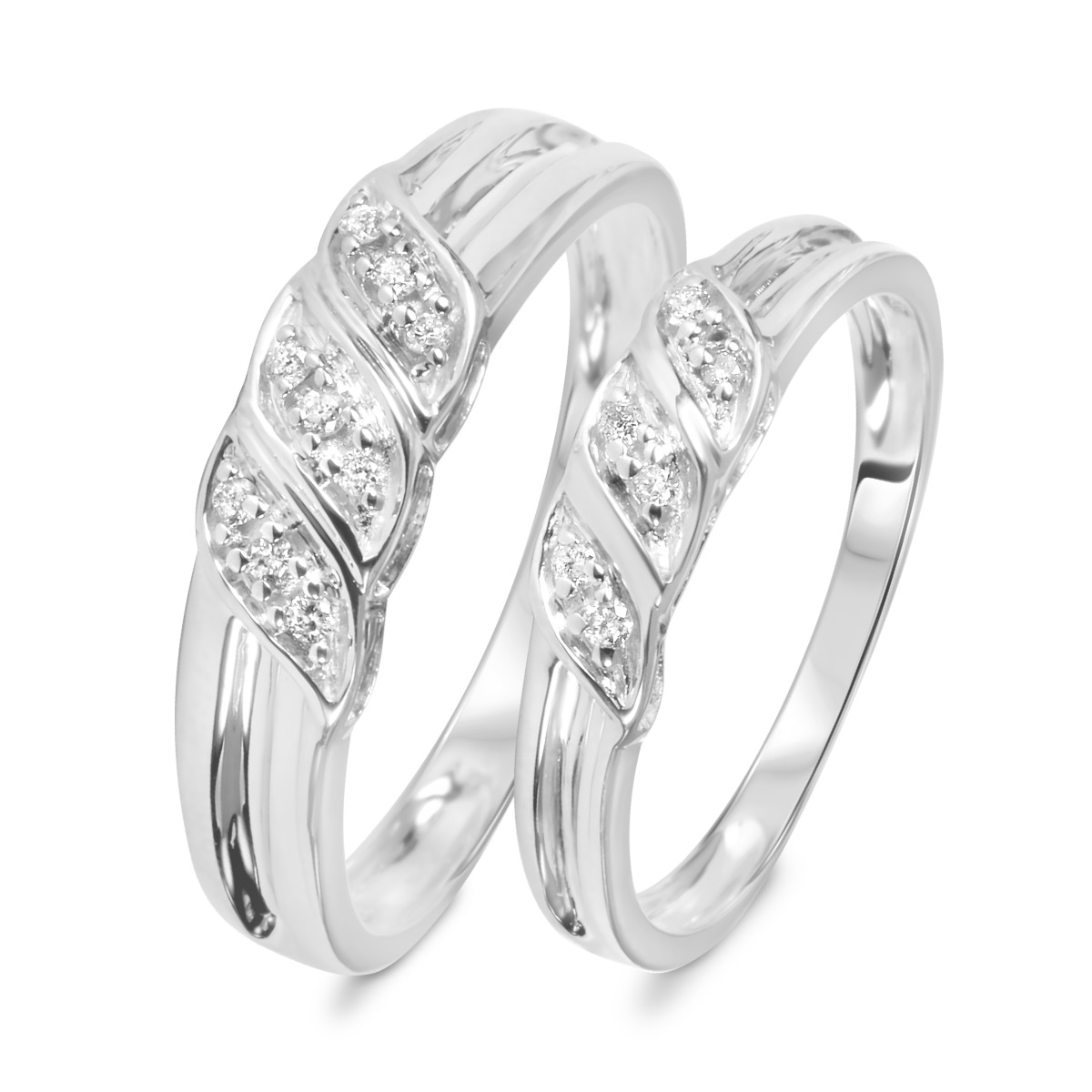 1/7 Carat T.W. Diamond Ladies' and Men's Wedding Rings 10K White Gold