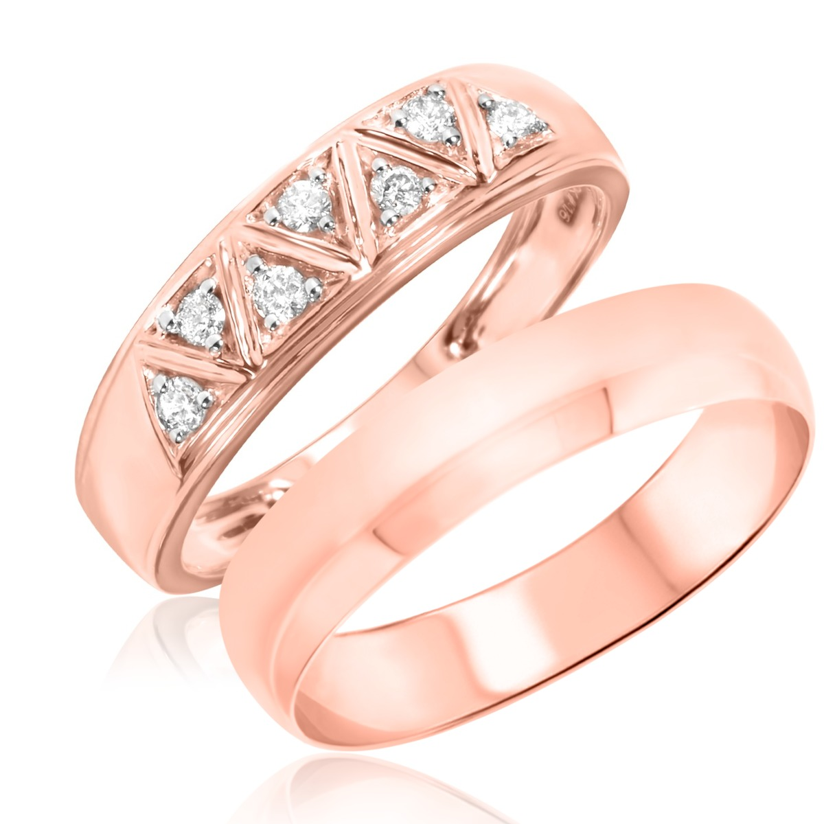 1/6 Carat T.W. Round Cut Diamond His and Hers Wedding Band Set 10K Rose Gold