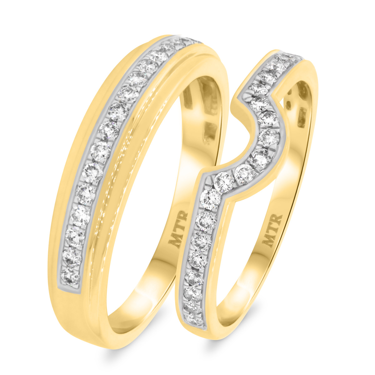 1/2 Carat T.W. Diamond Matching Wedding Band Set 10K Yellow Gold