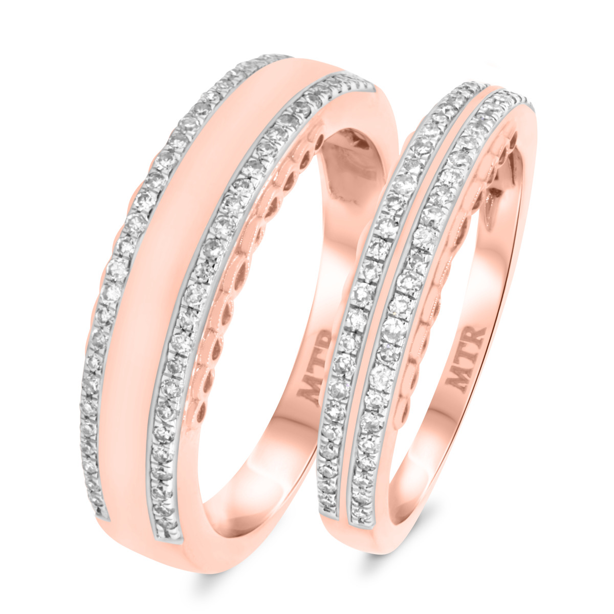 1/2 CT. T.W. Diamond Matching Wedding Band Set 10K Rose Gold