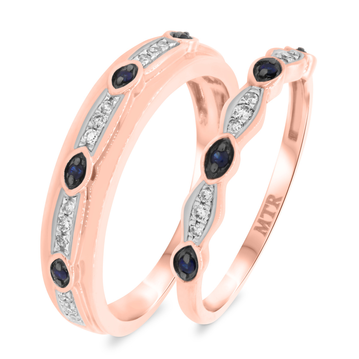 1/6 CT. T.W. Diamond Matching Wedding Band Set 10K Rose Gold
