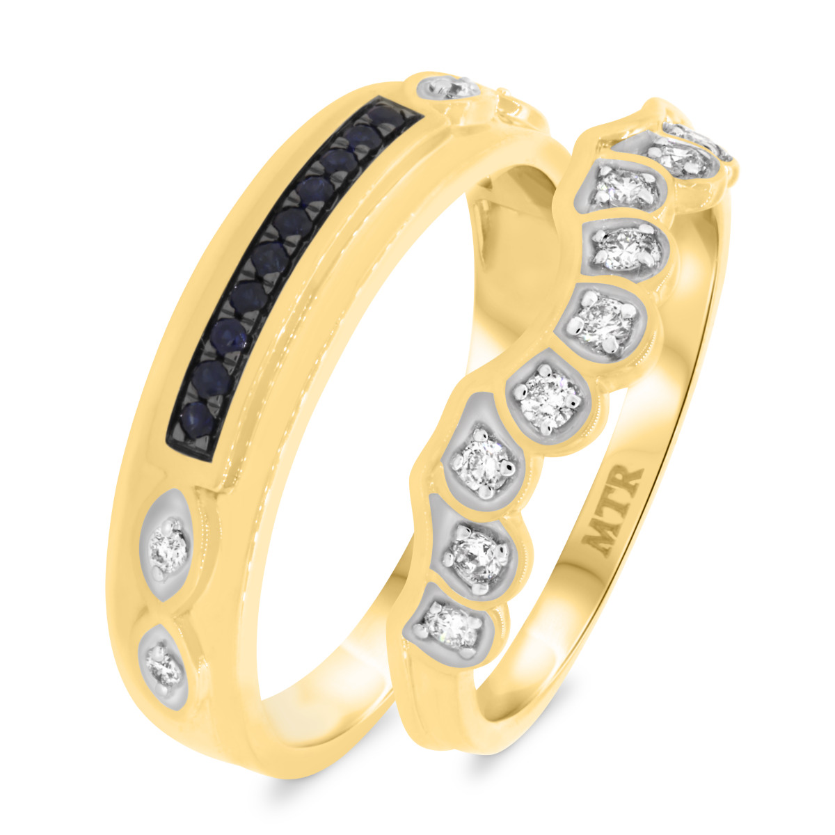 1/5 CT. T.W. Diamond Matching Wedding Band Set 14K Yellow Gold