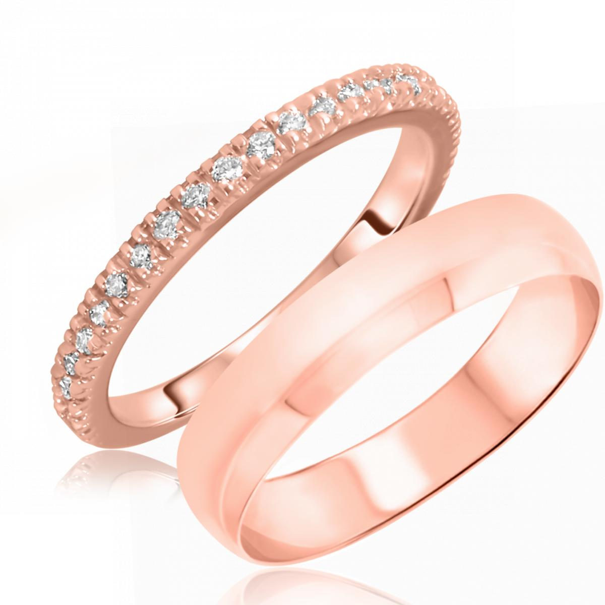 1/4 Carat T.W. Round Cut Diamond His and Hers Wedding Band Set 14K Rose Gold
